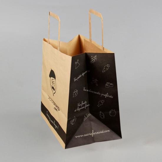 bolsa de papel kraft marrón biodegradable reciclado con asas